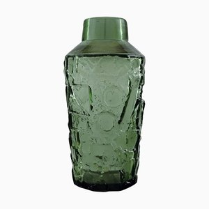 Finnish Vase in Green Mouth Blown Art Glass, 1970s