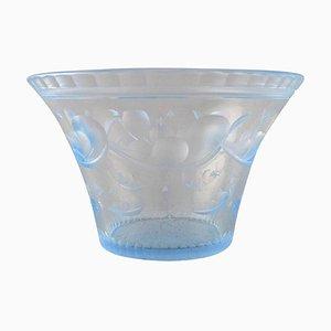 Bowl in Satin-Cut Light Blue Art Glass by Simon Gate for Orrefors, 1928