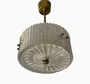 Small Mid-Century Circular Pendant Lamp from Orrefors, 1960s