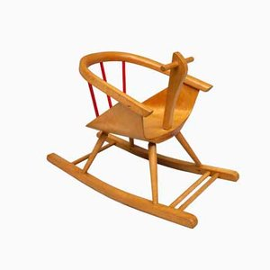 Vintage Beech Children's Rocking Chair from Baumann, 1962