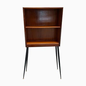 Italian Wood Cabinet with Black Metal Feet and Brass Ends, 1960s