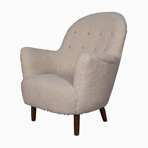 Danish Lounge Chair in Lambswool, 1940s