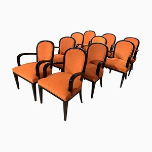 Art Deco French Black Lacquer & Orange Fabric Armchairs, 1930s, Set of 10