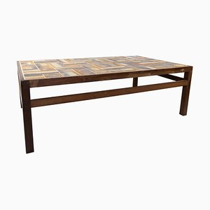 Rosewood and Dark Tiled Coffee Table by Tue Poulsen, 1970s