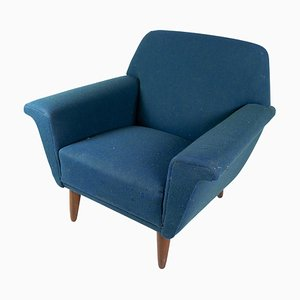 Dark Blue Wool Fabric Armchair, 1960s