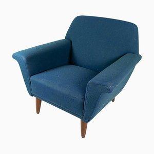 Poltrona in lana blu scura, anni '60