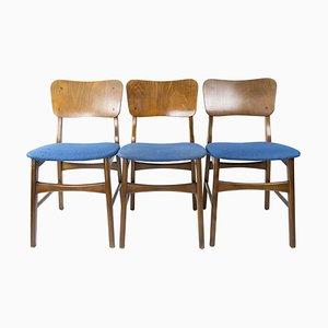 Dänische Esszimmerstühle aus dunklem Holz, 1960er, 3er Set