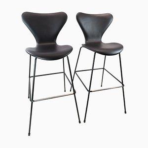 Tabourets de Bar Modèle 3187/3197 Seven par Arne Jacobsen et Fritz Hansen, Set de 2