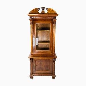 Light Walnut Glass Cabinet, 1880s