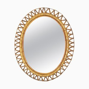Oval Rattan Mirror, Italy, 1960s