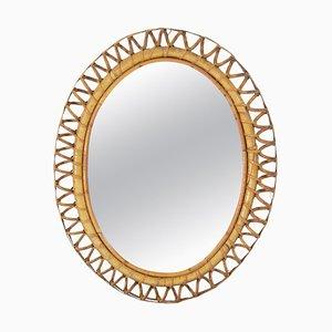 Oval Rattan Mirror, Italy, 1960s