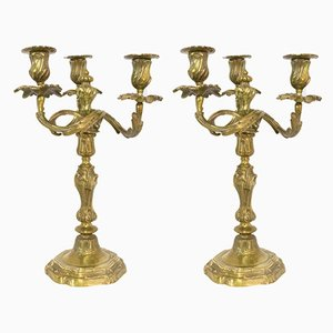 Französische Kerzenhalter aus Bronze, 19. Jahrhundert, 2er Set