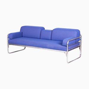 Bauhaus Blue Tubular Chrome Sofa by Hynek Gottwald, 1930s