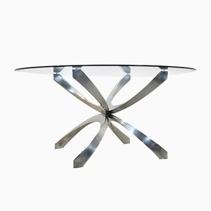 Aluminum and Glass Coffee Table by Knut Hesterberg for Ronald Schmitt