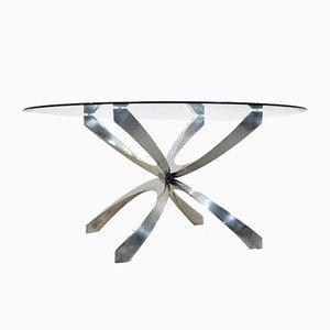 Tavolino da caffè in alluminio e vetro di Knut Hesterberg per Ronald Schmitt