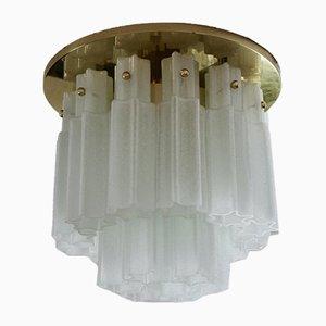Große Messing & Milchglas Deckenlampe von Glashütte Limburg