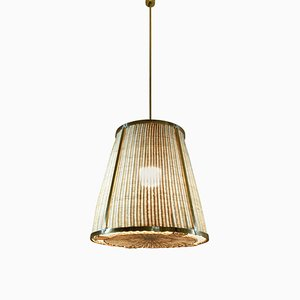 Brass and Rattan Pendant Light