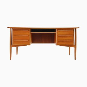 Teak Free Standing Writing Desk by Arne Vodder for H. P. Hansen, Denmark, 1960s