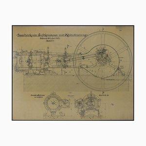Große technische Originalzeichnung des Luftkompressors, 1925
