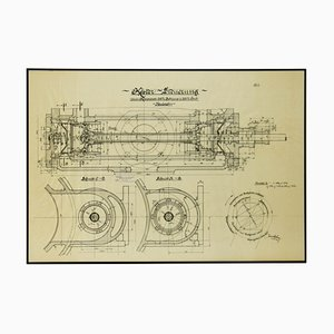 Original Technical Drawing of Compressor, 1925