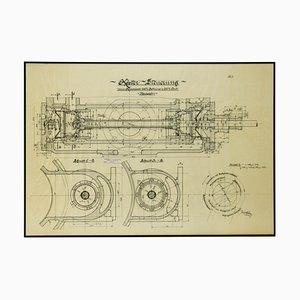 Original Technische Zeichnung von Compressor, 1925