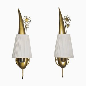Swedish Modern Wall Lamps in Brass, Set of 2