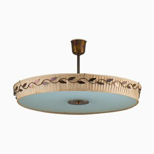 Mid-Century Scandinavian Ceiling Lamp in Brass and Glass by Hans Bergström
