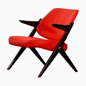 Black Birch Wool Red Lounge Chair by Bengt Ruda for Nordiska Kompaniet, 1950s