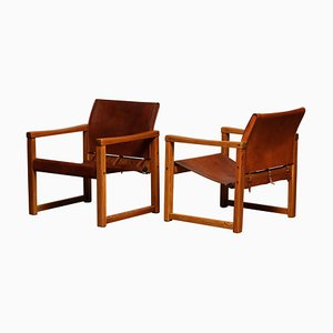 Cognac Leather Model Diana Safari Armchairs by Karin Mobring for IKEA, Sweden, Set of 2