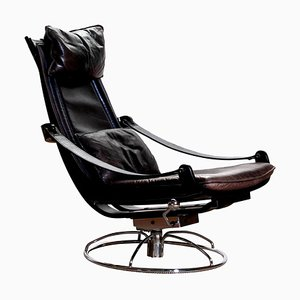 Leather Swivel Chair by Ake Fribytter for Nelo, Sweden, 1970s
