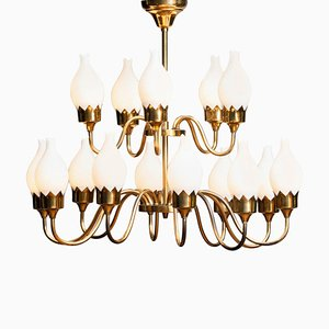 Brass and White Glass Opaline Chandelier with Tulips from Fog & Mørup, 1950s