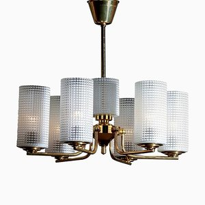 Brass and Glass Chandelier by Carl Fagerlund for Orrefors, Sweden, 1950s