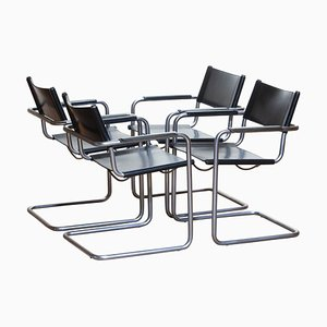 MG5 Black Leather Dining Chairs by Matteo Grassi, 1970s, Set of 4