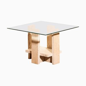 Glass Travertine Coffee Table by Willy Ballez, 1970s