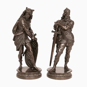 Large French Bronze Statues, 1890s, Set of 2