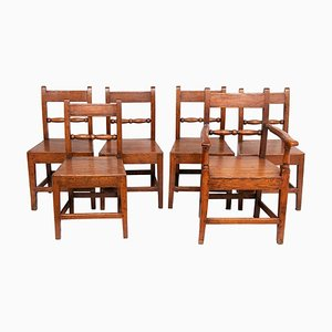 English Oak Dining Chairs, 1740s, Set of 6