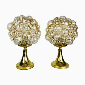 Bubble Glass Table Lamps with Brass Base from Limburg Glashütte, 1970s, Set of 2