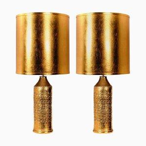 Bitossi Lampen von Bergboms, mit Maßgefertigten Schirmen von Rene Houben, 2er Set