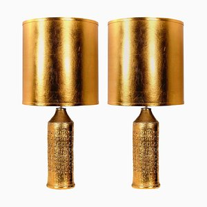 Bitossi Lamps from Bergboms, With Custom Made Shades by Rene Houben, Set of 2