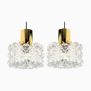 Bubble Glass Pendant Lamps by Helena Tynell, 1960s, Set of 2