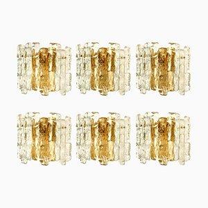 Ice Glass Sconce with Brass Tone by J. T. Kalmar, Austria