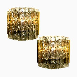 Wall Lamps in Brass and Glass, 1970s, Set of 2