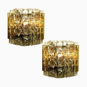 Wandlampen aus Messing & Glas, 1970er, 2er Set