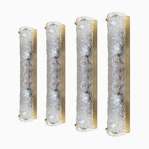 Mundgeblasene Murano Glas und Messing Wandlampe von Hillebrand