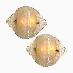 Murano Opalglas Wandlampen von Kalmar, 1970er, 2er Set