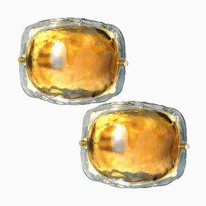 Brass and Brown Glass Hand Blown Murano Glass Wall Lights by J. T. Kalmar, Set of 2