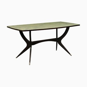 Ebony Stained Wood and Glass Table, Italy, 1950s