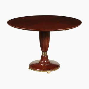 Solid Wooden Table with Mahogany Veneer, Italy, 1950s