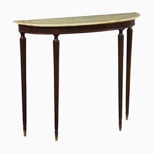 Ebonized Wood, Alabaster and Brass Console, Italy, 1950s
