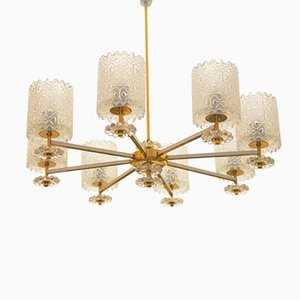 Vintage Brass and Glass Chandelier from Austria, 1970s